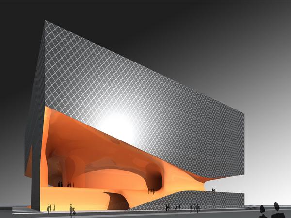 建筑外观硬朗,给人以力与美的感觉,而内部空间全部以动态的流线曲面